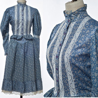 Vintage Gunne Sax Style You Babes Dress 1970's Blue and Ivory Floral Paisley Skirt and Top Set Prairie Girl