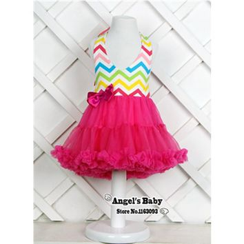 PrinceSasa Chevron Backless Toddler Baby Girl Dresses,Party Vestido Infantil Menina,Cute Sleeveless Baby Girl Clothes #A0020