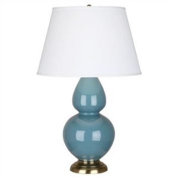 Steel Blue Double Gourd Table Lamp  Antique Brass Base