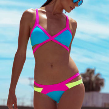 Turquoise Neon Punch Strappy Bikini Set - LoveCulture