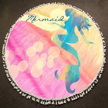 Mermaid Multi-Way Round Beach Terry Towel