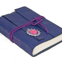 Purple Leather Journal with Owl Cameo Bookmark - Ready to Ship