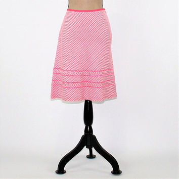 Pink Gingham Skirt Women Medium Linen Skirt Aline A Line Skirt Midi Skirt Size 8 Skirt Ann Taylor Vintage Clothing Womens Clothing