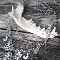 Jaw Bone Necklace,Coyote,Mushroom Pentacle Owl Moon,Real animal Bone Jewelry,Wiccan Pagan Shaman Gypsy Jewelry, Warrior Larp Cosplay Jewelry