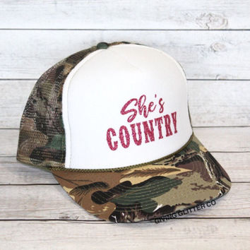 She's Country // Trucker Hat - Camo Hat - Country Hat