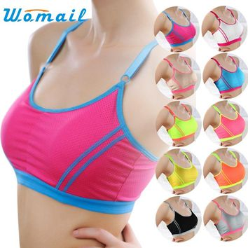 Women Padded Sport Bra Fitness Underwear Push Up Yoga Running Tops Girl Athletic Gym Adjustable Strap Bras Stretch Vest DEC29ZYP
