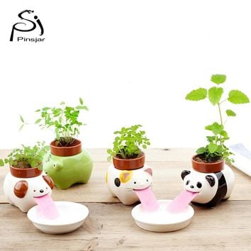 Free Shipping Peropon Drinking Animal Planter Cute Animal Tongue flower Pot Ceramic Self Watering Critter