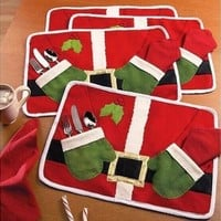 Table Dish Bowl Food Placemat Decoration Christmas Home Party Santa Claus Mats [9305900743]
