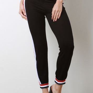 Stripe Accent Jersey Knit Jogger Pants
