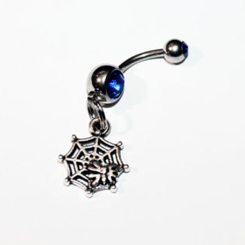 Spider Web Belly Button Ring, Navel Ring, Spiders, Gothic Jewelry, Horror, Spiderweb, Belly Piercing