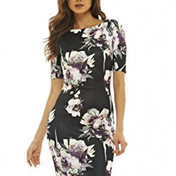 Black 3/4 Sleeve Lavender Floral Print Bodycon Midi Dress