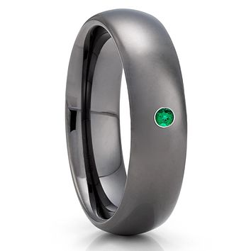 Emerald Tungsten Ring - Gray Tungsten Ring - Anniversary Ring - 6mm - Dome