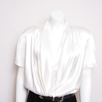 Vintage Beautiful Studio I Made in New York Drapey White Top and Velvet Pencil Skirt Dress