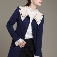 Historical Fiction Vintage Lapel Collar Swing Coat in Navy/Beige | Sincerely Sweet Boutique
