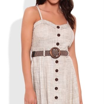 Corset Dress with Spaghetti Straps and Belted Waist