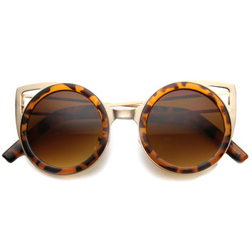 Women's Indie Round Unique Cat Eye Cut Out Sunglasses 9845