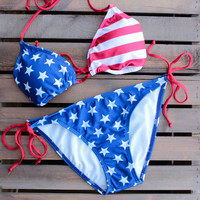 final sale - american flag triangle bikini set
