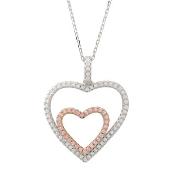 Rhodium And Rose Plated Sterling Silver, Open Double Heart With Pink And White CZ Pendant On Chain