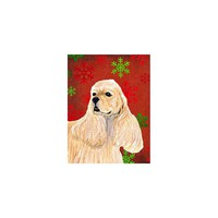 Caroline's Treasures Cocker Spaniel Red Green Snowflakes Holiday Christmas House Flag