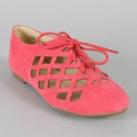 Bamboo Lynna-04 Suede Cut Out Oxford Lace Up Flat
