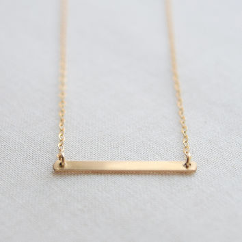 Simple Bar Necklace 14k gold, 14k rose gold and sterling silver