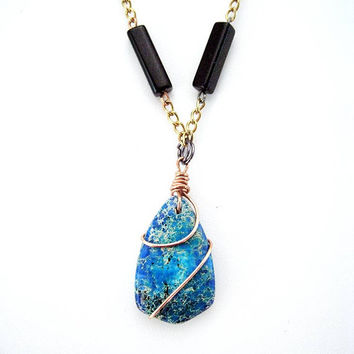 Copper wrapped blue variscite stone necklace - Bohemian, Statement necklace, recycled, upcycled, OOAK