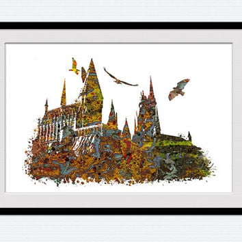 Hogwarts castle watercolor print Harry Potter colorful poster Hogwarts castle poster Harry Potter print Home decor Kids room wall art  W408