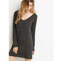 V Neck Knitted Long-Sleeve Dress