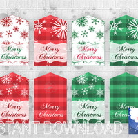 Printable Gift Tags, Merry Christmas hang tag, blank gift tag, red green plaid tag, snowflakes patterned,  PDF file, download