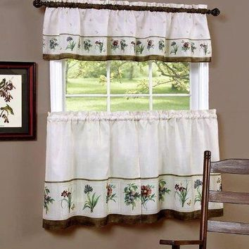 Park Avenue Collection Botanical Printed Tier and Valance set 58x36 Tier Pair and 58x13 Valance - Multi