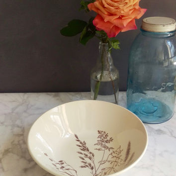 J and G Meakin Serving Bowl/ Windswept dishes/ Vintage Serving Bowl/ Cream and Brown Ceramic Bowl/ English Country/ Salad Bowl