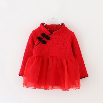 New Dress Baby Girl Red Ball Gown Princess Dress Chinese Robe bebe fille Baby Girl Dress 6BY010