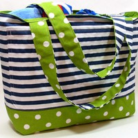 Extra Large Reversible Beach Bag in Polka Dots and Stripes