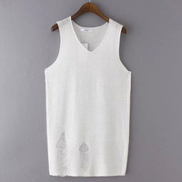 Summer Stylish Korean Sexy Knit Hollow Out Ripped Holes Slim Vest T-shirts [4919232452]