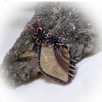 Sale Antique Copper Wire Wrapped Stone Pendant Indonesian Coral