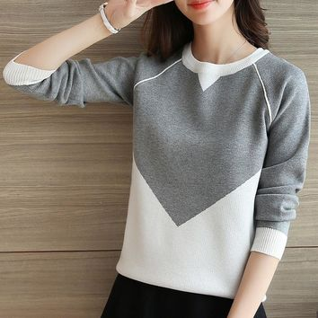 Korean version of the new loose-sleeved sweater sweater knit sweater long-sleeved students fitted jacket sweater women