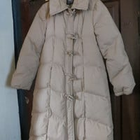 VINTAGE  P B.D. Full Length Long Down  brown  Puffer Coat toggle buttons sz xsmall