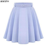 MWSFH Women Bottoms Spring Autumn Women Long Skirts Feminina Saia Longa Faldas Slim Tutu Ladies Black Light Blue Long Skirts de