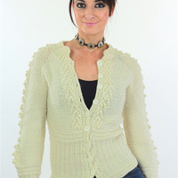 Cable knit cardigan sweater fitted long sleeve wool