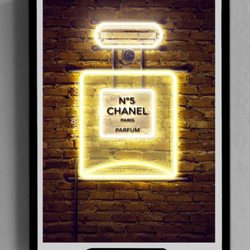 Chanel, Parfum, Bottle, Poster, Neon, Light, Fashion, Style, Fancy, Room, Decor, Gift for her, DIGITAL DOWNLOAD