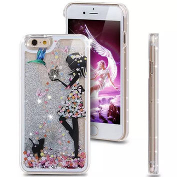 Liquid Glitter Girl and Kitten Iphone 5 5S Case