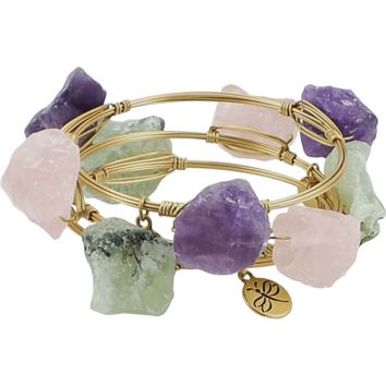 Crystal Wire Bangles Set of Three Green Pink Purple Quartz