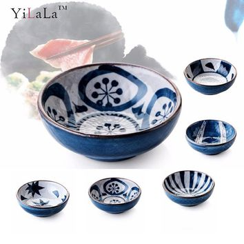 Yilala Ceramic Soy Sauce Dish  Mini Plate Small Dinner Tableware Blue and White Sushi wasabi Dishes Porcelain Dinnerware