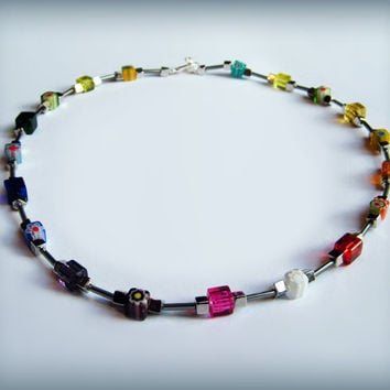 Rainbow, Millefiori and silver bead necklace with toggle clasp