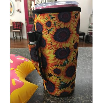 Sunflower Tumbler Koozie with chapstick/lipstick holder