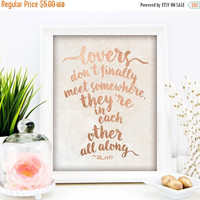 "Rose Gold Foil Print, ""Lovers Are In Each Other All Along"", Rumi, Rose Gold Foil, 8x10 Art Print, Romantic Wedding, Rose Gold, Gift Idea"