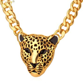 U7 Statement Necklace Leopard Head Big Pendant Yellow Gold Color Cuban Link Chain Men/Women Animal Kpop Jewelry N463