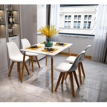 4 Pcs Armless Soft Padded Seat Dining Chair Modern and Body Engineering Design Chairs with Wooden Leg White