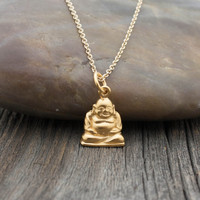 Gold Happy Buddha Necklace - 24K Gold Dipped Laughing Buddha Pendant . Yoga Jewelry . Outdoor & Sportsman Gifts