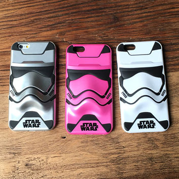 Fashion Star Wars 3D stereoscopic white soldiers Phone Case Double protective sleeve tide men for iphone 7 7plus 6 6s plus